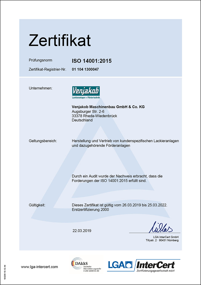 Zertifikat ISO 14001-2015