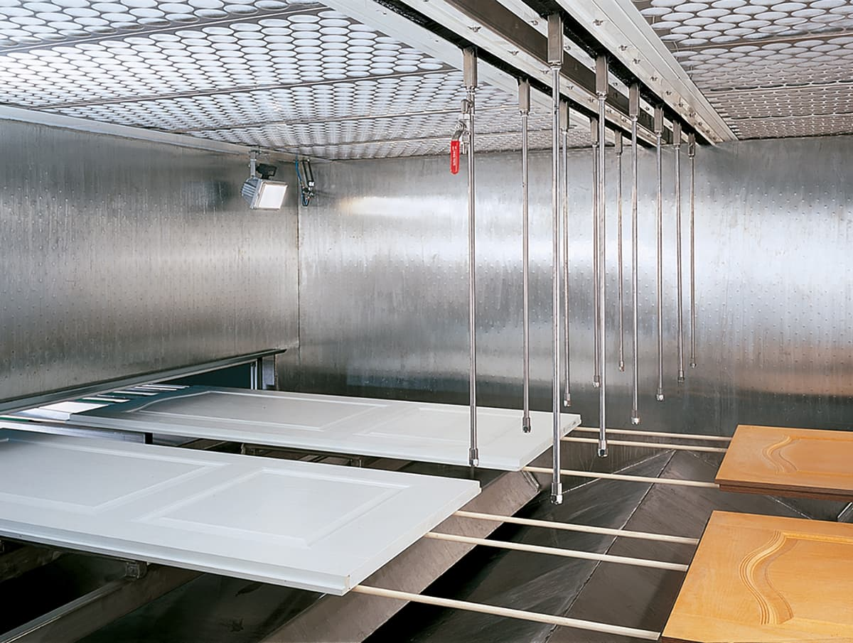 Spray booth interior view
