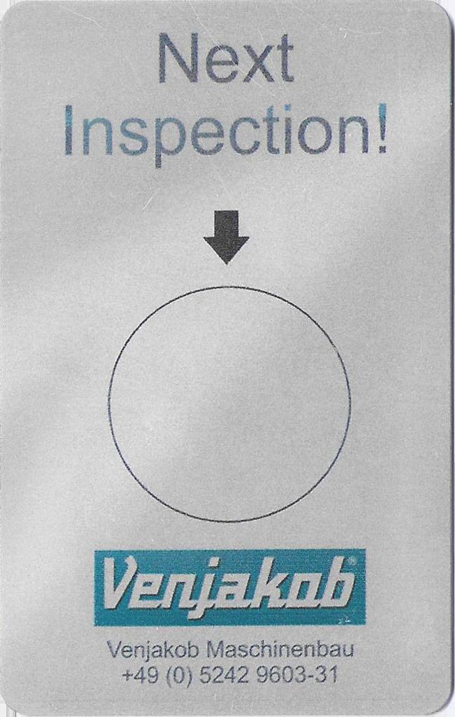 Venjakob inspection sticker