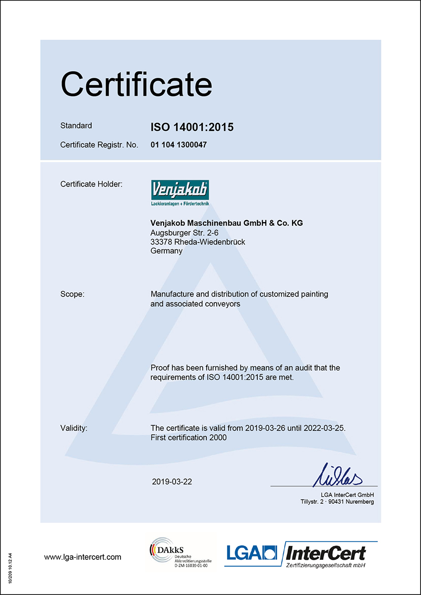 Certificate DIN ISO 14001-2015
